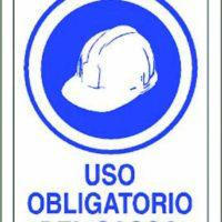 CARTEL PLÁSTICO SERIGRAFIADO 30x45 cm USO OBLIGATORIO DE CASCO