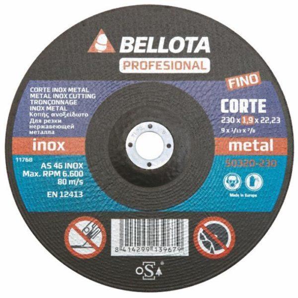 DISCO ABRASIVO CORTE INOX - METAL EXTRAFINO - PROFESIONAL 230 mm.