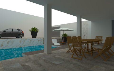 Patio con piscina revestida de imitación mármol